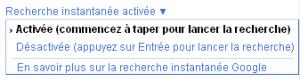 désactiver google instant