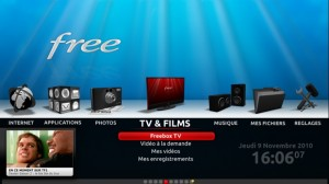 interface tv du freebox player
