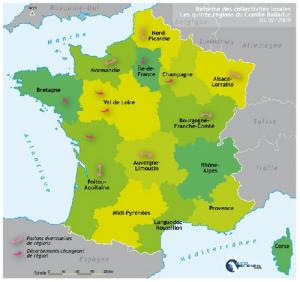 Carte des quinzes régions vue par Edouard Balladur