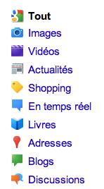 Menu Google en Blanc